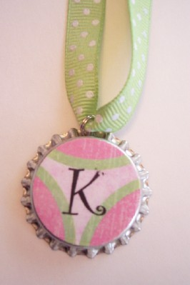 On A Whimsy - Initial Bottle Cap Necklace