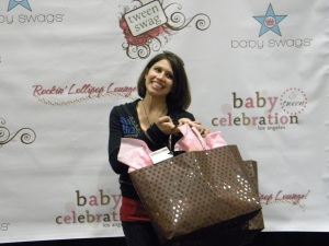 "Rachel Sibner posing with her ""Staralicious"" gift bag"