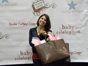 "Rachel Sibner posing with her ""Staralicious"" gift bag"