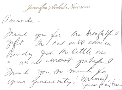 Jennifer Siebel Newsom, wife of Gavin Newsom, Mayor of San Francisco says Thanks!